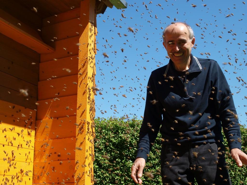 Ein Ort zum Schwärmen? Für Mehmet Öztürk und seine Honigbienen ganz sicher, denn hier, am selbst gebauten Bienenhaus im eigenen Garten, darf jeder auf seine Weise ins Schwärmen geraten: Während die Insekten aufgeregt um ihre Königin herum wimmeln, um ein neues Volk zu gründen, verfolgt der Imker das turbulente Schauspiel seiner diensteifrigen Stachelträger mit entwaffnender Gelassenheit. Foto: Ulrike Havermeyer