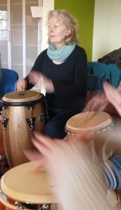 Percussionistin Ingrid Neteler in Aktion